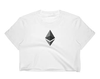 Women's Ethereum Official Black Logo Cryptocurrency Emblem Crop Top