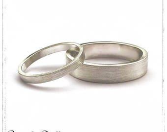 Alliances - Duo Alliances plates brossées argent massif 925 - 2 mm et 5 mm - Bijoux d'amour, PACS, mariage