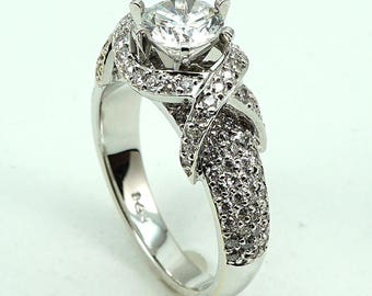 Engagement Ring 18K WG CZ Center Stone with 122-Diam Side Stones at 0.81 Cts.