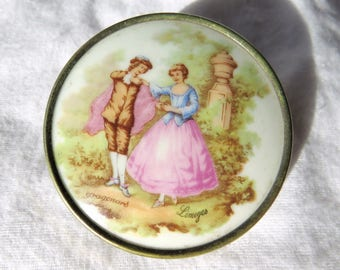 set of two Vintage Small Limoges Plaques with Fragonard Image