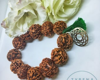 Rudraksha bracelet with flower of life