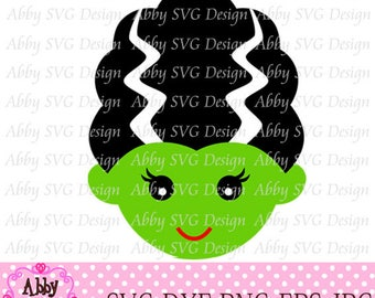 Halloween Frankenstein bride Cut File svg,png,dxf and eps file for the Cutting Machines