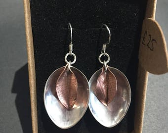 Beautiful silver spoon and cooper leaf earings