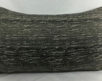 "16 x 26"" High End Gray Tweed Designer Pillow Cover - Designer Throw Pillow - Mid Century Modern - Gray Tweed Sham - Tan Linen Contrast Back"