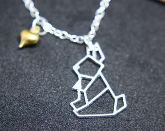Rabbit rabbit with heart origami necklace silver Shiny