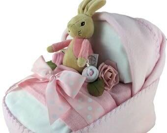 Baby Crib shaped Nappy Cake with Flopsy Bunny