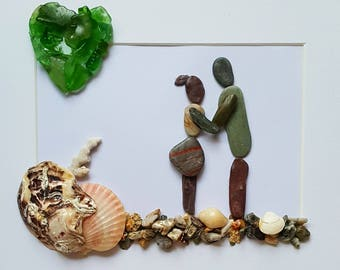 Cornish Pebble Se Glass Sea Pottery Art Couple Love Together Valentines Day  Unique Handmade Box Framed Art