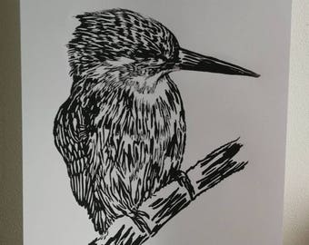 A4 size Black & White kingfisher lino cut print
