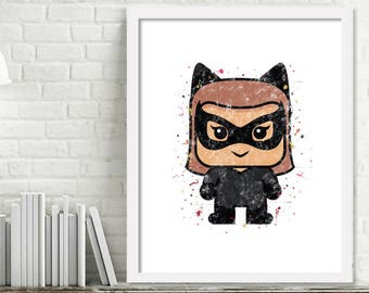 Printable Superhero Nursery Art, Superhero Watercolor Art, Superhero wall decor, Catwoman Watercolor Print, Catwoman Art, Mini Superheroes