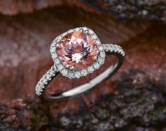 Round Genuine Morganite Halo Engagement Ring, Peach Morganite Ring, Natural Morganite Diamond Ring, Halo Engagement Ring Morganite