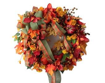 Fall Front Door Wreath, Fall Wreath, Fall Door Wreath, Fall Door Decor, Autumn Door Wreath, Fall Front Door Decor, Fall Wreath Decor, Wreath