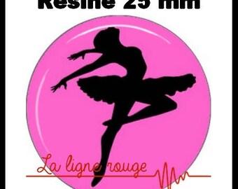 Round cabochon resin 25 mm - stick - (104) - Ballet Dance, opera, dancer