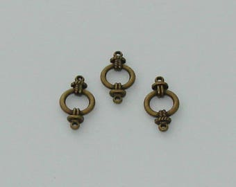 3 connectors circle antique brass - Ref: 1000 CB