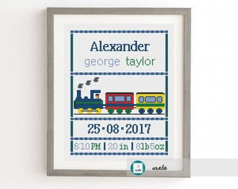 Cross stitch baby birth sampler, birth announcement, train, DIY customizable pattern** instant download
