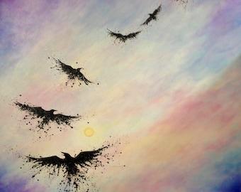 Custom Soul Painting/ spirit, raven, animal, animal guide, power animal, painting, original, art, drawing, sacred, geometry