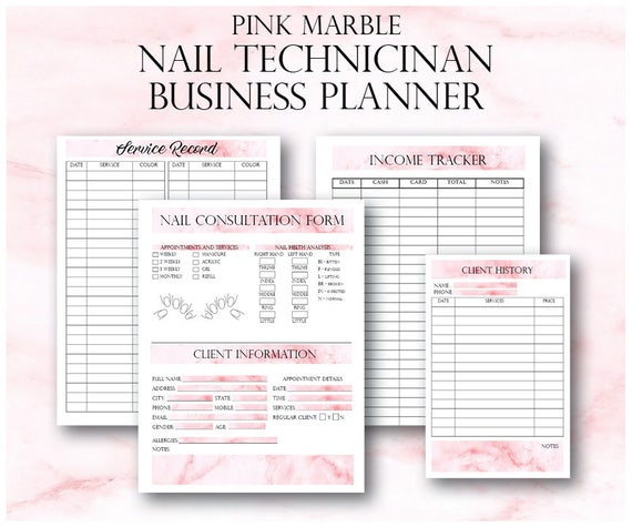 Pink Marble Nail Technician Small Business Planner Nail