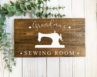 Grandma gift-sewing room sign-sewing room decor-farmhouse-farmhouse sign-Christmas gift-personalized sign-dark wood sign-personalized gift