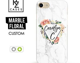 Marble Phone Case, Initial Phone Case, iPhone 7 Case, Floral Custom Case, Personalized Gift for Her, iPhone 7 Plus, iPhone 6S Case, Custom