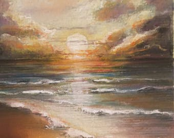 Sunset over calm seas pastel painting