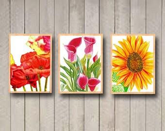 Watercolor set of 3 Flowers printable / Printable Wall Art 8 x 10 flowers / Botanical Art Print / Floral Wall Art / Printable Home Decor