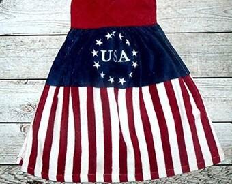 Pot Holder Top American Flag Kitchen Towel