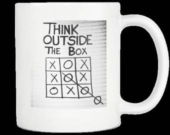 TicTacToe Creative Thinking Clever Minded Smart Genius Coffee Cup Gift for Co-Workers Colleagues Or Boss Think Outside The Box