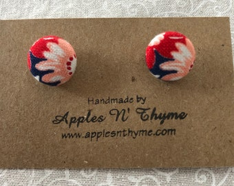 "Fabric button earrings | Light Orange and Red Daisies on Navy Blue | Surgical Stainless Steel Earring Posts | 1/2"" button size"