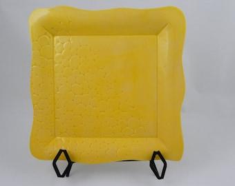 Yellow Platter  pattern of cobble stone