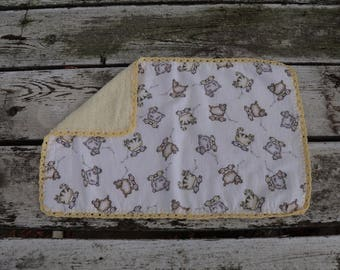 Lamb and Cat Burp Cloth