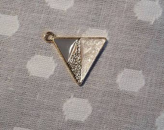 Triangle pendant with pearl, gold and blue colour detail / charm / Christmas present / jewellery