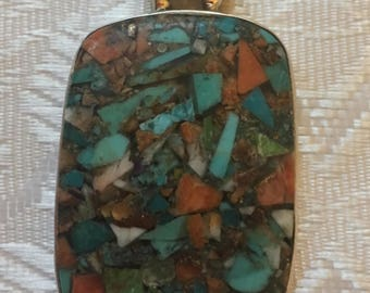 Sterling turquoise cross, 925 silver, natural stone pendant