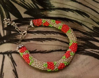 Silver color with apple bracelet crochet rope
