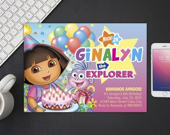Dora The Explorer Invitation, Dora The Explorer Birthday, Dora The Explorer Invites, Dora The Explorer Party Printables