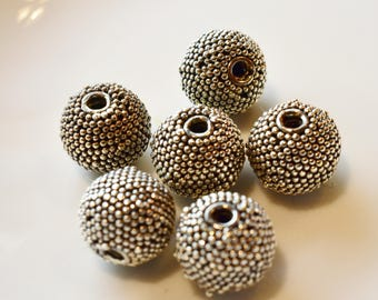 Bali Sterling Silver Ornate large bead 9.8mm  6 pieces
