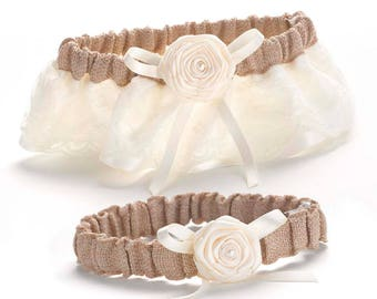 Rustic Country Wedding - Keep and Toss Bridal Garter Set