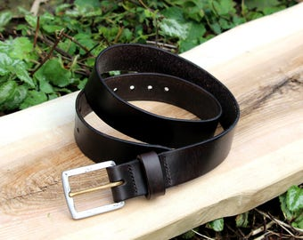 Full grain leather belt, with hand forged buckle