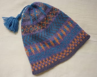 Fair Isle hat, hand knitted, wool ,  Blue and heather tones