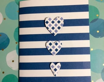 Navy and White Heart Greeting Card