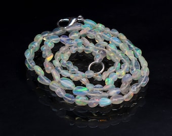 "Amazing Natural Ethiopian Opal Tumble 16"" Inch Strand Smooth Polish Size 3x4 to 4x7 mm Code- OT08"