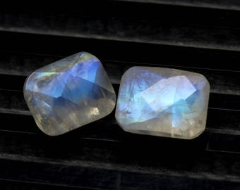 Amazing Natural Rainbow Moonstone  Blue Flash fire Size 7x9 MM Approx 2 PCs Pair Faceted Checker Cushion Rainbow  Code- HR29