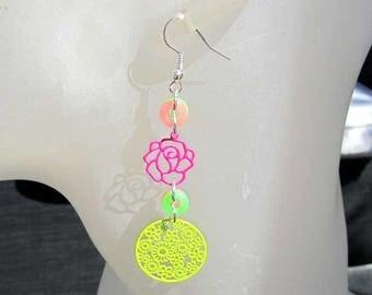 Neon Funsun - pink and green neon earrings