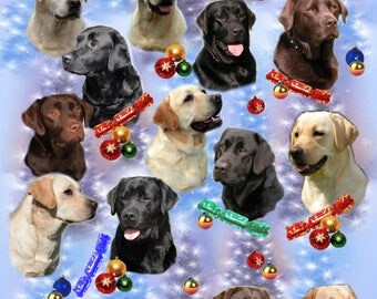 Labrador Retriever Dog Christmas Gift Wrapping Paper.