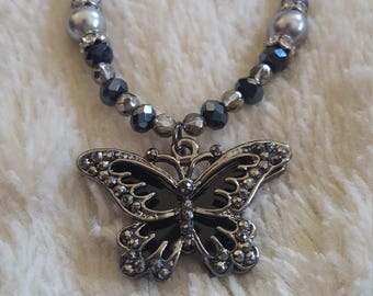 Women's handmade beaded butterfly pendant necklace, black butterfly necklace, mothers day gift, women's accessory, butterfly pendant