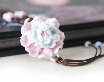 Handmade Porcelain Flower Necklace (Pink and Blue Peony)