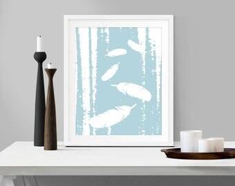 Falling Feathers, Digital Print, Slate Blue, Blue, Wall Art, Home Decor, Feathers, White