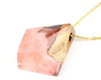 Pink Resin Necklace Nature resin Jewelry,Magic Wooden Necklace Resin with Maple Wood,Beautiful Pendant Gift for mom from daughter birthday