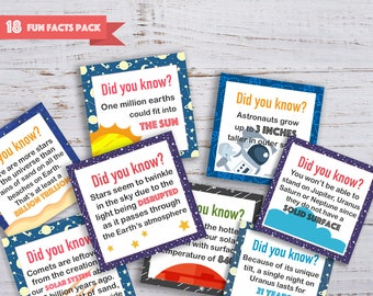 Lunch Notes - Outer Space facts (18 notes) | Printable lunch notes | Did you know | Back to school | Lunch box notes for kids | For boys