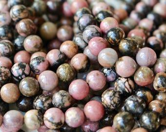 6mm black veined Rhodonite beads, full strand, natural stone beads, round, 60015