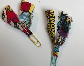 Set of TWO Planner Clips / Bible Journaling Clips / Fabric Clips / Fancy Paper Clips / Fabric Bookmarks / Fabric Page Marker