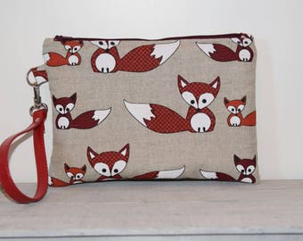 Linen and cotton clutch bag with foxes-handmade-leather wrist strap-gift for her-wrist clutch